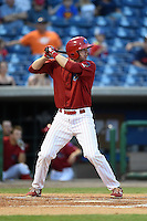Clearwater Threshers first baseman Zach Green (12) at bat during a game against the Tampa Yankees on April 21, 2015 at Bright House Field in Clearwater, Florida.  Clearwater defeated Tampa 3-0.  (Mike Janes/Four Seam Images)