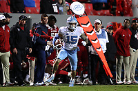 RALEIGH, NC - NOVEMBER 30: Beau Corrales #15 of the University of North Carolina runs down the sideline with the ball during a game between North Carolina and North Carolina State at Carter-Finley Stadium on November 30, 2019 in Raleigh, North Carolina.