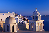 church, Santorini, Greece, Cyclades, Greek Islands, Firostefani, Europe, Church steeples above the village of Firostefani on the steep hillside of Santorini Island on the Aegean Sea.