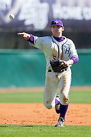 Third baseman Ryne Rush #5 of the High Point Panthers makes a throw to first base against the Dayton Flyers at Willard Stadium on February 26, 2012 in High Point, North Carolina.    (Brian Westerholt / Four Seam Images)