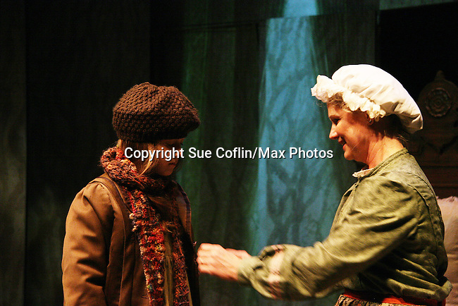 """Isabella Convertino """"Mary Lennox"""" and Cat Guthrie """"Martha""""  as Philipstown Depot Theatre presents The Secret Garden on November 15, 2009 in Garrison, New York. The musical The Secret Garden is the story of """"Mary Lennox"""", a rich spoiled child who finds herself suddenly an orphan when cholera wipes out the entire Indian village where she was living with her parents. She is sent to live in England with her only surviving relative, an uncle who has lived an unhappy life since the death of his wife 10 years ago. """"Archibald's son Colin"""", has been ignored by his father who sees Colin only as the cause of his wife's death.This is essentially the story of three lost, unhappy souls who, together, learn how to live again while bringing Colin's mother's garden back to life. (Photo by Sue Coflin/Max Photos)........"""