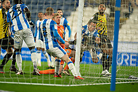 19th December 2020 The John Smiths Stadium, Huddersfield, Yorkshire, England; English Football League Championship Football, Huddersfield Town versus Watford; scramble in the Huddersfield goal mouth as Watford press in the second Half but the ball goes over the bar