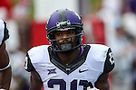 TCU Horned Frogs wide receiver Deante' Gray (20) in action during the game between the TCU Horned Frogs and the SMU Mustangs at the Gerald J. Ford Stadium in Fort Worth, Texas.  TCU leads SMU 28 to 0 at half.