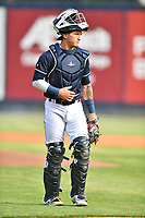 Asheville Tourists catcher Korey Lee (5) during a game against the Greenville Drive on May 22, 2021 at McCormick Field in Asheville, NC. (Tony Farlow/Four Seam Images)