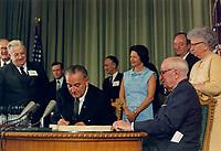 Medicare Bill Signing. July 30, 1965.<br /> <br /> Credit: LBJ Library Photo