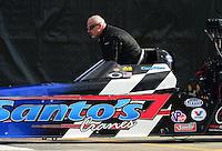 Nov. 9, 2012; Pomona, CA, USA: NHRA top fuel dragster driver Cory McClenathan during qualifying for the Auto Club Finals at at Auto Club Raceway at Pomona. Mandatory Credit: Mark J. Rebilas-