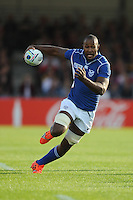 Tjiuee Uanivi of Namibia in full flight during Match 20 of the Rugby World Cup 2015 between Tonga and Namibia - 29/09/2015 - Sandy Park, Exeter<br /> Mandatory Credit: Rob Munro/Stewart Communications