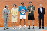 British player Andy Murray winner and Spanish tennis player Rafael Nadal, finalist, in presence of Manolo Santana, Queen Sofia of Spain and the Mutua Madrilena's President Ignacio Garralda after Madrid Open Tennis 2015 Final match.May, 10, 2015.(ALTERPHOTOS/Acero)
