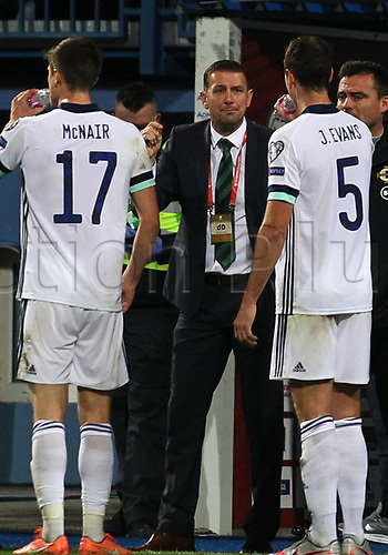 8th October 2020, Sarajevo Bosnia; European International Football Championships playoff,  Bosnia and Herzegovina versus Northern Ireland;  Ian Baraclough  Northern Ireland coach speaks to his players before the penalty shoot-out