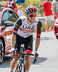Rafal Majka (POL) UAE Team Emirates on his way to winning solo Stage 15 of La Vuelta d'Espana 2021, running 197.5km from Navalmoral de la Mata to El Barraco, Spain. 29th August 2021.     <br /> Picture: Cxcling | Cyclefile<br /> <br /> All photos usage must carry mandatory copyright credit (© Cyclefile | Cxcling)