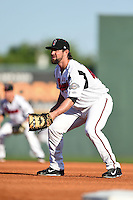 Nashville Sounds first baseman Sean Halton (44) during the first game of a double header against the Omaha Storm Chasers on May 21, 2014 at Herschel Greer Stadium in Nashville, Tennessee.  Nashville defeated Omaha 5-4.  (Mike Janes/Four Seam Images)