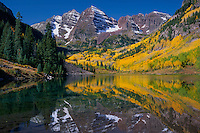 Colorado blue spruce and aspen<br /> Maroon Lake and Maroon Bells, Elk Mountains<br /> White River National Forest<br /> Rocky Mountains, Colorado