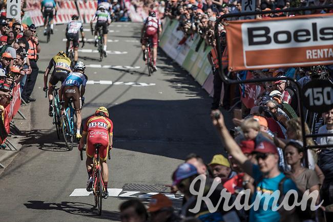 Spanish national champion Jesus Herrada (ESP/Cofidis) up the Mur de Huy. <br /> <br /> 82nd La Flèche Wallonne 2018<br /> 1 Day Race: Seraing - Huy (198,5km)