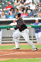 Birmingham Barons first baseman Gavin Sheets (24) swings at a pitch during a game against the Tennessee Smokies at Smokies Stadium on May 15, 2019 in Kodak, Tennessee. The Smokies defeated the Barons 7-3. (Tony Farlow/Four Seam Images)