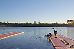 Rowing, Morning workout with coach Rob Morgan, Great Britain Men's lightweight pair, Chris Boddy, bow, Adam Freeman-Pask, stroke, November 2, 2010 FISA World Rowing Championships, Lake Karapiro, Hamilton, New Zealand,