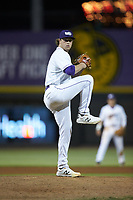 Winston-Salem Dash starting pitcher John Parke (28) in action against the Wilmington Blue Rocks at BB&T Ballpark on April 16, 2019 in Winston-Salem, North Carolina. The Blue Rocks defeated the Dash 4-3. (Brian Westerholt/Four Seam Images)