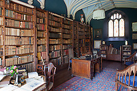 The design of the blue library, with its vaulted ceiling and stained glass windows, was greatly inspired by Horace Walpole's Strawberry Hill home in Twickenham