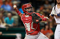 Peoria Chiefs catcher Dennis Ortega (28) throws to second base during a game against the Bowling Green Hot Rods on September 15, 2018 at Bowling Green Ballpark in Bowling Green, Kentucky.  Bowling Green defeated Peoria 6-1.  (Mike Janes/Four Seam Images)