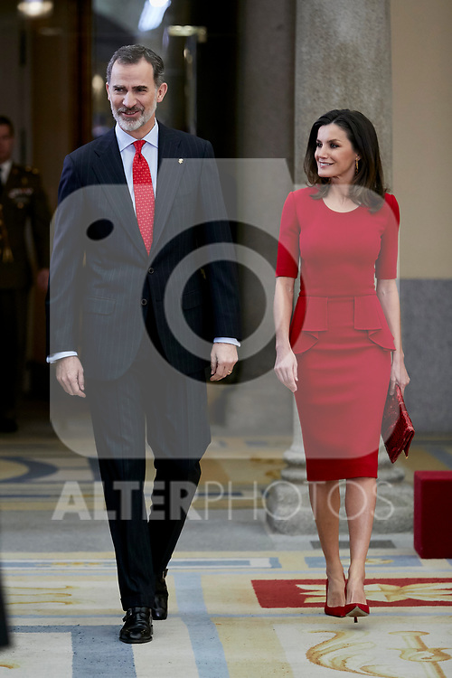 King Felipe VI of Spain and Queen Letizia of Spain attends to National Sports Awards at Royal Palace of el Pardo in Madrid, Spain. January 10, 2019. (ALTERPHOTOS/A. Perez Meca) (ALTERPHOTOS/A. Perez Meca)