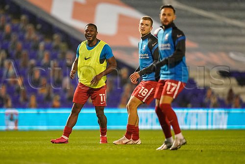 20th November 2020; St Andrews Stadium, Coventry, West Midlands, England; English Football League Championship Football, Coventry City v Birmingham City; Jérémie Bela of Birmingham City enjoys the warm-up prior to the match