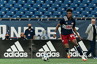 FOXBOROUGH, MA - AUGUST 7: Orlando Sinclair #99 of New England Revolution II on the attack during a game between Orlando City B and New England Revolution II at Gillette Stadium on August 7, 2020 in Foxborough, Massachusetts.
