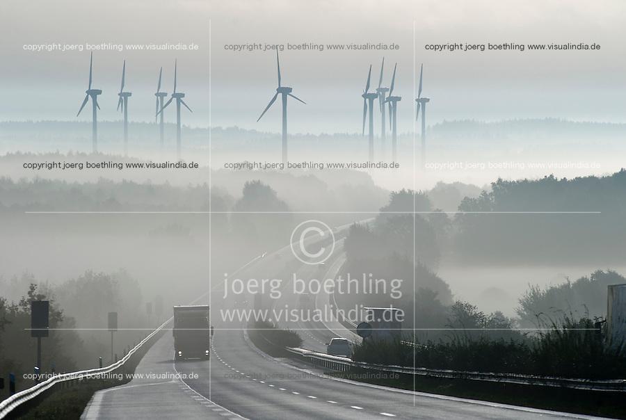 Deutschland Windpark und Autobahn Bruecke ueber den Nord-Ostsee-Kanal im Nebel | Europe Germany GER windfarm at highway in fog