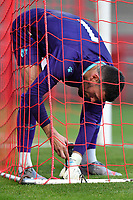 Ben Fosterof Watford FC sets up his go pro camera in the goal during Stevenage vs Watford, Friendly Match Football at the Lamex Stadium on 27th July 2021