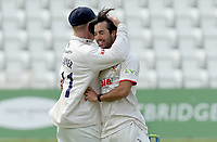 Shane Snater of Essex is congratulated on taking five wickets by Simon Harmer during Nottinghamshire CCC vs Essex CCC, LV Insurance County Championship Group 1 Cricket at Trent Bridge on 7th May 2021