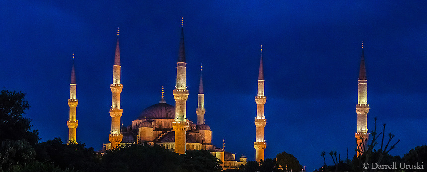 Fine Art Landscape Photograph Night scene of the Sultan Ahmed Mosque, popularly know as the Blue Mosque because of the blue tiles on the interior. It has 6 minarets and 8 domes.