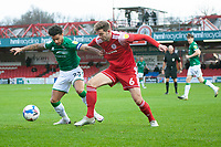 Lincoln City's Liam Bridcutt battles with Accrington Stanley's Matt Butcher<br /> <br /> Photographer Andrew Vaughan/CameraSport<br /> <br /> The EFL Sky Bet League One - Accrington Stanley v Lincoln City - Saturday 21st November 2020 - Crown Ground - Accrington<br /> <br /> World Copyright © 2020 CameraSport. All rights reserved. 43 Linden Ave. Countesthorpe. Leicester. England. LE8 5PG - Tel: +44 (0) 116 277 4147 - admin@camerasport.com - www.camerasport.com
