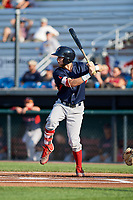 Lowell Spinners center fielder Cole Brannen (18) at bat during a game against the Auburn Doubledays on July 13, 2018 at Falcon Park in Auburn, New York.  Lowell defeated Auburn 8-5.  (Mike Janes/Four Seam Images)