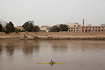 BAGHDAD, IRAQ: A rower on the Iraqi olympic rowing team practices on the Tigris in the morning...Despite dangers like kidnappings, bombs, and assassinations, Iraq's olympic rowing team prepares for the London 2012 Summer Olympics...Photo by Ali Arkady/Metrography