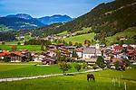 Oesterreich, Tirol, Westendorf im Brixental: mit Pfarrkirche zum heiligen Nikolaus | Austria, Tyrol, Westendorf (Tirol) at Brixental: with parish church Saint Nicholas