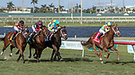 HALLANDALE BEACH, FL - JAN 06: Flameaway #1 with Julien Leparoux in the irons in an early lead out of the gates on the way to winning The $100,000 Kitten's Joy Stakes for trainer Mark E. Casse at Gulfstream Park on January 6, 2018 in Hallandale Beach, Florida. (Photo by Bob Aaron/Eclipse Sportswire/Getty Images)