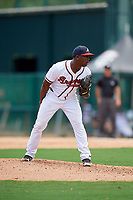 GCL Braves relief pitcher Yoeli Lopez (26) looks in for the sign during the second game of a doubleheader against the GCL Yankees West on July 30, 2018 at Champion Stadium in Kissimmee, Florida.  GCL Braves defeated GCL Yankees West 5-4.  (Mike Janes/Four Seam Images)