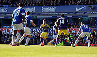 Pictured: Pablo Hernandez of Swansea (C). Sunday 16 February 2014<br /> Re: FA Cup, Everton v Swansea City FC at Goodison Park, Liverpool, UK.
