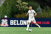 FOXBOROUGH, MA - AUGUST 7: Nick O'Callaghan #72 of Orlando City B passes the ball during a game between Orlando City B and New England Revolution II at Gillette Stadium on August 7, 2020 in Foxborough, Massachusetts.