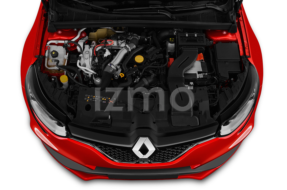 Car stock 2018 Renault Megane R.S. base 5 Door Hatchback engine high angle detail view