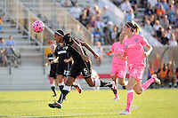 Candace Chapman (5) of the Western New York Flash heads the ball. The Western New York Flash defeated Sky Blue FC 2-0 during a Women's Professional Soccer (WPS) match at Yurcak Field in Piscataway, NJ, on July 17, 2011.