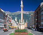 Austria, Tyrol, Innsbruck: St. Anne's Column at Maria-Theresia-Street and Nordkette mountains