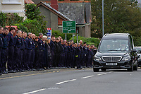 2019 10 01 Firefighter Funeral at St Katharine & St Peter's Church in Milford Haven, Wales, UK.