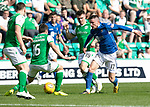 Hibs v St Johnstone….24.08.19      Easter Road     SPFL <br />Michael O'Halloran is stopped by Lewis Stevenson<br />Picture by Graeme Hart. <br />Copyright Perthshire Picture Agency<br />Tel: 01738 623350  Mobile: 07990 594431