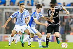 Real Sociedad's Sergio Canales (l) and Aritz Elustondo (c) and Rosenborg BK's Nicklas Bendtner during Europa League, Group L, match 1. September 14,2017. (ALTERPHOTOS/Acero)