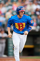 Buffalo Bisons catcher Danny Jansen (41) runs to first base during a game against the Gwinnett Braves on August 19, 2017 at Coca-Cola Field in Buffalo, New York.  The Bisons wore special Superhero jerseys for Superhero Night.  Gwinnett defeated Buffalo 1-0.  (Mike Janes/Four Seam Images)