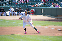 Kyle Kubitza (10) of the Salt Lake Bees during the game against the Reno Aces in Pacific Coast League action at Smith's Ballpark on May 10, 2015 in Salt Lake City, Utah.  Reno defeated Salt Lake 11-2 in Game Two of the double-header. (Stephen Smith/Four Seam Images)