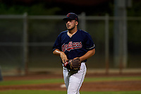 AZL Indians relief pitcher Andrew Misiaszek (40) walks off the field between innings of an Arizona League game against the AZL Padres 1 on June 23, 2019 at the Cleveland Indians Training Complex in Goodyear, Arizona. AZL Indians Red defeated the AZL Padres 1 3-2. (Zachary Lucy/Four Seam Images)