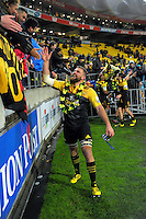 Callum Gibbins thanks fans after the Super Rugby final match between the Hurricanes and Lions at Westpac Stadium, Wellington, New Zealand on Saturday, 6 August 2016. Photo: Dave Lintott / lintottphoto.co.nz