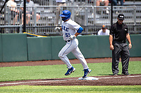 Duke Blue Devils right fielder Peter Matt (51) jogs home against the Liberty Flames in NCAA Regional play on Robert M. Lindsay Field at Lindsey Nelson Stadium on June 4, 2021, in Knoxville, Tennessee. (Danny Parker/Four Seam Images)