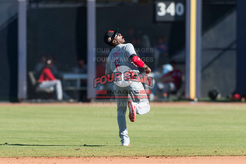 Scottsdale Scorpions second baseman Shed Long (6), of the Cincinnati Reds organization, pursues a pop fly during an Arizona Fall League game against the Peoria Javelinas at Peoria Sports Complex on October 18, 2018 in Peoria, Arizona. Scottsdale defeated Peoria 8-0. (Zachary Lucy/Four Seam Images)