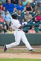 Courtney Hawkins (10) of the Winston-Salem Dash breaks his bat during the game against the Carolina Mudcats at BB&T Ballpark on June 6, 2014 in Winston-Salem, North Carolina.  The Mudcats defeated the Dash 3-1.  (Brian Westerholt/Four Seam Images)
